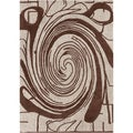 Mandara Hand-tufted Brown/ White Abstract Wool Rug (5' x 7')