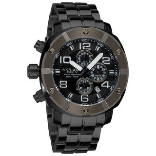 Akribos XXIV Gray Men's Chronograph Divers Stainless Steel Bracelet Watch
