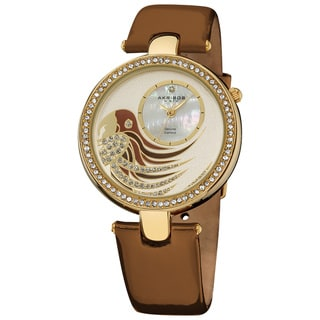 Akribos XXIV Ladies Parrot Dial Genuine Leather Strap Watch