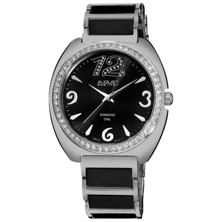 August Steiner Women's Diamonds Ceramic Link Bracelet Watch, Black Face