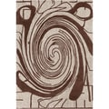 Mandara Hand-tufted Brown/ White Abstract Wool Rug (7' x 10')