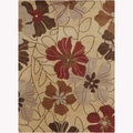 Mandara Hand-Tufted Floral Wool Rug with Canvas Backing (5' x 7')