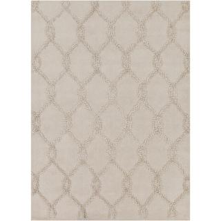 Mandara Hand-tufted Geometric Ivory Wool Rug (5' x 7')
