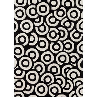 Mandara Hand-tufted Geometric Black/White Wool Rug (7' x 10')
