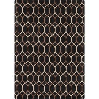 Mandara Hand-tufted Geometric Black Wool Rug (5' x 7')