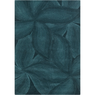 "Mandara Contemporary Hand-Tufted Floral Blue Wool Rug (5' x 7'6"")"