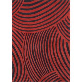 Mandara Hand-tufted Abstract Red/Black Wool Rug (5' x 7')