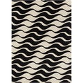 Mandara Hand-tufted Abstract Black/White Wool Rug (5' x 7')