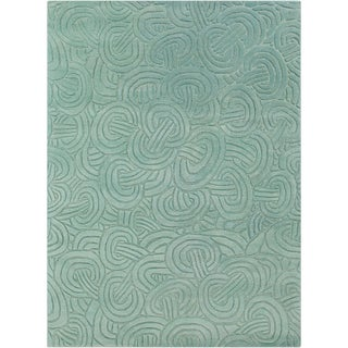 Mandara Hand-tufted Abstract Blue Wool Rug (7' x 10')