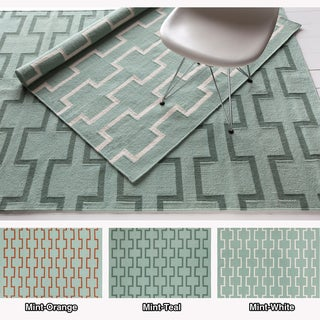 Mandara Handmade Abstract Pattern Flat-Weave Rectangular Rug (5' x 7')