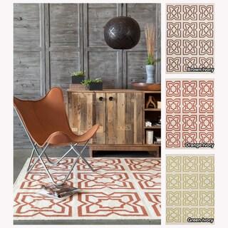 Contemporary Mandara Handmade Abstract Pattern Flat-Weave Rug (5' x 7')