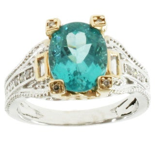 Michael Valitutti 14k Two-tone Gold Apatite and Diamond Ring
