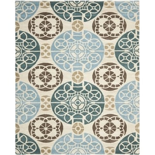 Safavieh Hand-made Wyndham Beige/ Blue Wool Rug (10' x 14')