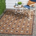 Geometric Safavieh Indoor/Outdoor Piled Veranda Chocolate/Terracotta Rug (5'3 x 7'7)