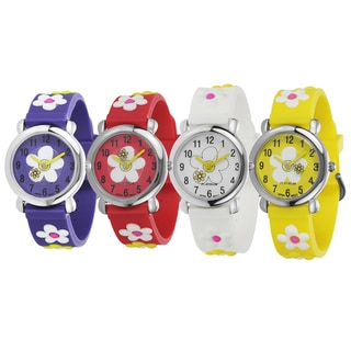 Geneva Platinum Girl's Silicone Watch with Daisies