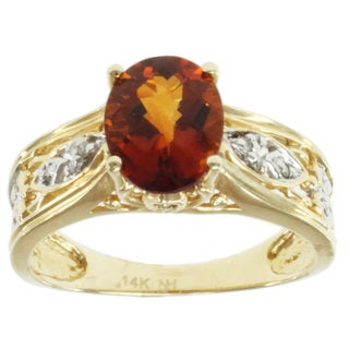 Michael Valitutti 14k Yellow Gold Fire Citrine and Diamond Ring