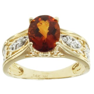 Michael Valitutti 14k Yellow Gold Fire Citrine and Diamond Ring