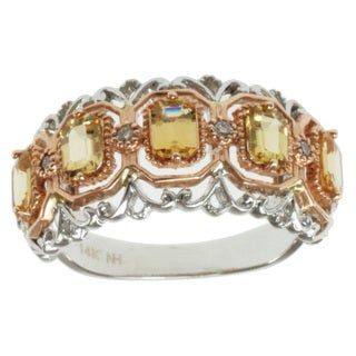 Michael Valitutti 14k Two-tone Gold Tsavana Tourmaline and Diamond Ring