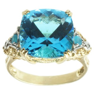 Michael Valitutti 14k Two-tone Gold Blue Topaz, Neon Apatite and Diamond Ring
