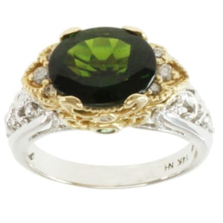 Michael Valitutti 14k Two-tone Gold Chrome Diopside, Chrome Tourmaline and Diamond Ring