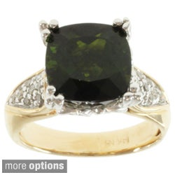 Michael Valitutti 14k Two-tone Gold Chrome Diopside or Bahia Green Tourmaline and Diamond Ring