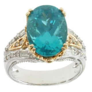 Michael Valitutti 14K Two-tone Gold Blue Paraiba Apatite and Diamond Ring