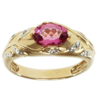 Michael Valitutti 14K Yellow Gold Round-cut Pink Tourmaline and Diamond Ring