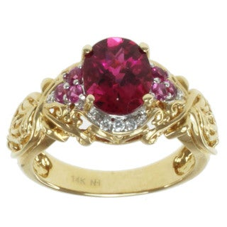 Michael Valitutti 14k Yellow Gold Rubelite, Pink Sapphire and Diamond Ring