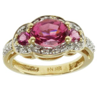 Michael Valitutti 18k Yellow Gold Pink Tourmaline and Diamond Ring