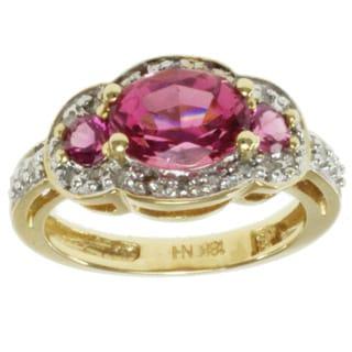 Michael Valitutti 18k Yellow Gold Pink Tourmaline and Diamond Ring