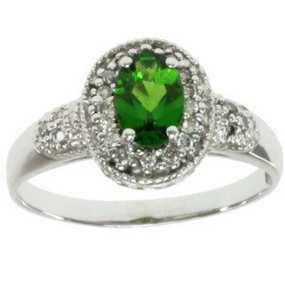 Michael Valitutti 14k White Gold Chrome Diopside and Diamond Ring