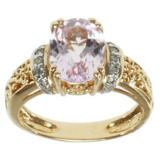 Michael Valitutti 14k Yellow Gold Kunzite and Diamond Ring