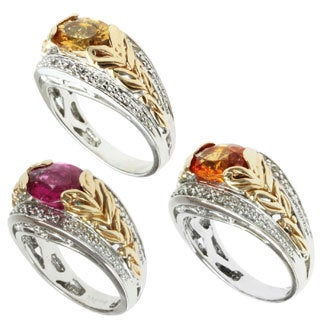 Michael Valitutti 14k Two-tone Gold Imperial Topaz, Rubelite or Spessartite and Diamond Ring
