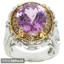 Michael Valitutti 18k Two-tone Gold Martha Rocha Kunzite or Rubelite and Diamond Ring