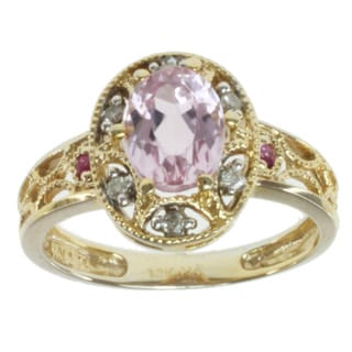 Michael Valitutti 14k Yellow Gold Kunzite, Pink Sapphire and Diamond Ring