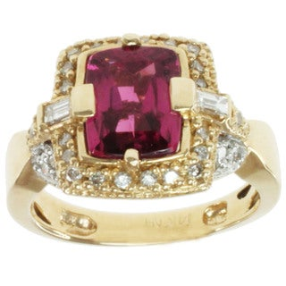 Michael Valitutti 14k Yellow Gold Pink Rubelite and Diamond Ring