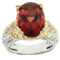 Michael Valitutti 14k Two-tone Gold Ruby Sunstone and Diamond Ring