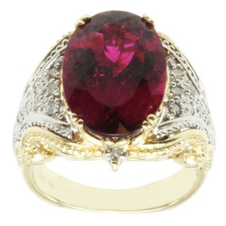 Michael Valitutti 14K Two-tone Gold Red Rubelite and Diamond Ring