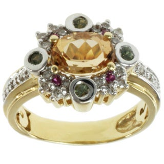 Michael Valitutti 18k Two-tone Gold Imperial Topaz, Green Sapphire, Pink Sapphire and Diamond Ring