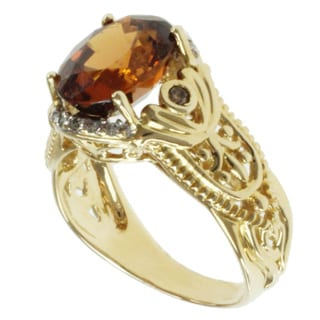 Michael Valitutti 14k Yellow Gold Chocolate Zircon and Diamond Ring