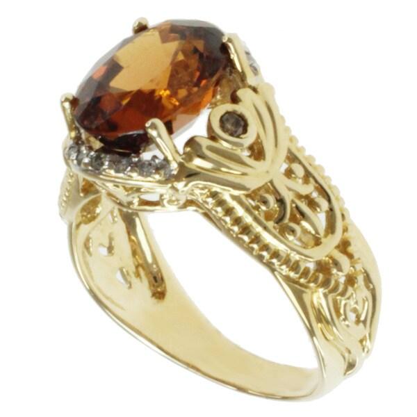 Michael Valitutti 14k Yellow Gold Chocolate Zircon and Diamond Ring