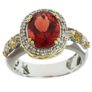 Michael Valitutti 18k Two-tone Gold Ruby Sunstone, Tourmaline and Diamond Ring