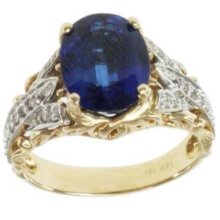 Michael Valitutti 14k Two-tone Gold Kyanite and Diamond Ring