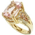 Michael Valitutti 18k Yellow and Rose Gold Maropino Pink Morganite and Diamond Ring