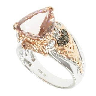 Michael Valitutti 14k Two-tone Gold Peach Morganite and Diamond Ring