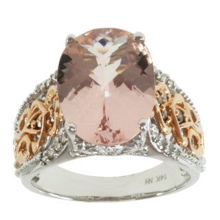 Michael Valitutti 14K Two-tone Gold Pink Morganite and Diamond Ring