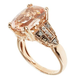 Michael Valitutti 14k Rose Gold Morganite and Diamond Ring