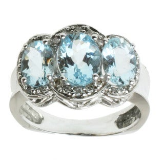 Michael Valitutti 14k White Gold Aquamarine and Diamond Ring
