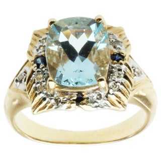 Michael Valitutti 14k Yellow Gold Aquamarine, Blue Sapphire and Diamond Ring