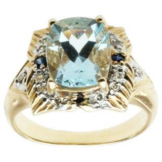 Michael Valitutti 14k Yellow Gold Aquamarine, Blue Sapphire and Diamond Ring